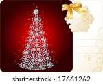 Diamond Christmas Tree / Holiday background with tag and copy space for your text - stock vector