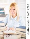 beautiful student girl sitting... | Shutterstock . vector #176612726