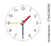 clock face with shadow on white ... | Shutterstock .eps vector #1766136056