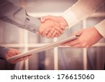 cropped image of two... | Shutterstock . vector #176615060