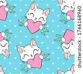 seamless pattern cute cat and... | Shutterstock .eps vector #1766168960