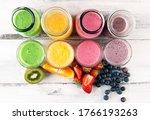 assortment of fruit smoothies... | Shutterstock . vector #1766193263
