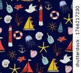 marine seamless pattern.... | Shutterstock .eps vector #1766217230