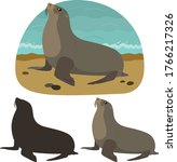 fur seal is lying lies on the... | Shutterstock .eps vector #1766217326