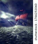 Viking Ship On A Stormy Sea ...
