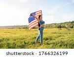 Middle Age Patriotic Woman...
