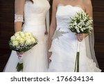 civil wedding of a lesbian...   Shutterstock . vector #176634134