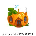 ripe pumpkin gnome or elf house....   Shutterstock .eps vector #1766375999