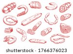 sausages and meat products... | Shutterstock .eps vector #1766376023