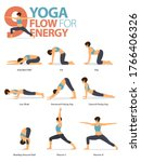 infographic of 9 yoga poses for ... | Shutterstock .eps vector #1766406326