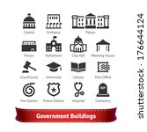 Government Buildings Icon Set. For Use With Maps and Internet Services Interfaces. - stock vector