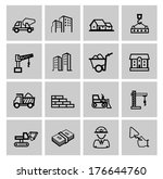 vector black construction icons ... | Shutterstock .eps vector #176644760