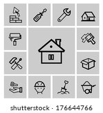 vector black construction icons ... | Shutterstock .eps vector #176644766