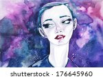 woman face. hand painted... | Shutterstock . vector #176645960