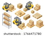 forklift cargo truck delivery... | Shutterstock .eps vector #1766471780