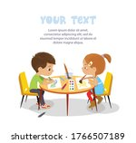 boy and girl sit in profile at... | Shutterstock .eps vector #1766507189