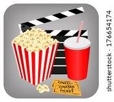 cinema   drink  popcorn and... | Shutterstock . vector #176654174