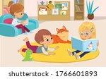 illustration of a girl reading... | Shutterstock .eps vector #1766601893