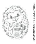 happy christmas hedgehog... | Shutterstock .eps vector #1766607083