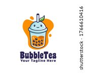 bubble drink tea logo with leaf ... | Shutterstock .eps vector #1766610416