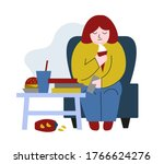 obese young woman. fat boy... | Shutterstock .eps vector #1766624276