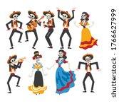 skeletons in mexican national...   Shutterstock .eps vector #1766627999