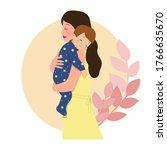 baby boy sleeping on mother's... | Shutterstock .eps vector #1766635670
