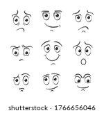 set of cartoon face emotions on ...   Shutterstock .eps vector #1766656046