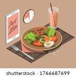 vegetable salad  glass of ...   Shutterstock .eps vector #1766687699