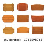 Wooden Sign Boards Vector...