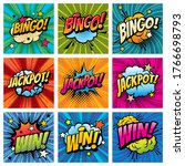 bingo and win comic bubbles... | Shutterstock .eps vector #1766698793
