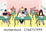 students write a test exam in ...   Shutterstock .eps vector #1766717999