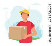 delivery man holding a parcel... | Shutterstock .eps vector #1766721206
