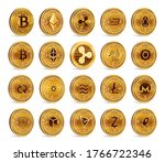 cryptocurrency physical coins... | Shutterstock .eps vector #1766722346