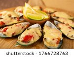 Seafood. Mussel Clams. Baked...