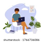 young man working from home.... | Shutterstock .eps vector #1766736086