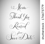 wedding signage  menu  thank... | Shutterstock .eps vector #176673779