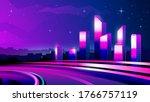 vector gradient neon highway... | Shutterstock .eps vector #1766757119