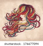 hand drawn woman with long... | Shutterstock .eps vector #176677094