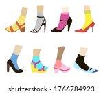 vector set of women's footwear. ...