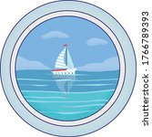 yacht at the sea in porthole.... | Shutterstock .eps vector #1766789393
