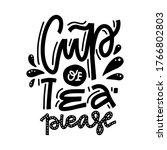cup of tea please. linear hand...   Shutterstock .eps vector #1766802803