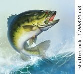 Largemouth Bass Jumps Out Of...