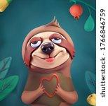 sloth cartoon character. cute... | Shutterstock .eps vector #1766846759