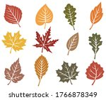 set of autumn leaf. collection... | Shutterstock .eps vector #1766878349