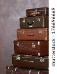 the old retro suitcases at a... | Shutterstock . vector #176696669