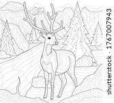 deer and nature. mountains ...   Shutterstock .eps vector #1767007943