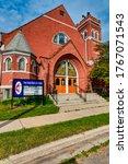 Small photo of GRAND LEDGE, MI - June 21: Main entrance for the First United Methodist Church in Grand Ledge, MI on June 21, 2020