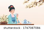 Ancient Chinese Girl Sitting A...