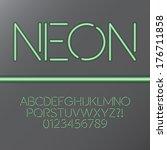 green neon tube alphabet and... | Shutterstock .eps vector #176711858
